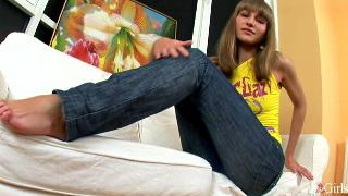 Polina Lubes Up Her Feet And Takes A Dildo